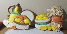 HOMCO KITCHEN WALL DECOR LEMONS, PEARS & DAISIES MULTI COLOR VINTAGE COUNTRY