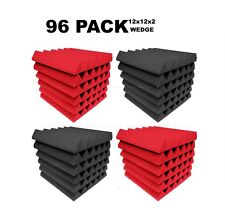 """Acoustic Foam 12x12x2"""" Wedge 96 Pack Red Gray Combo Soundproof recording tiles"""