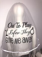 Personalised Hen Party Veil Wedding Glitter Sparkle Bride Out To Play 👰