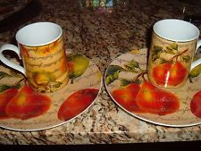 MUGS & PLATES  PEARS & APPLES  DEPT. 56 SET OF (4) TWO (2) MUGS TWO PLATES