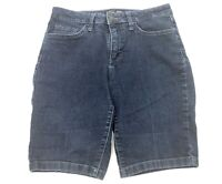 Womens Riders by Lee Size 8M Mid Rise Bermuda Blue Jean Shorts Stretch