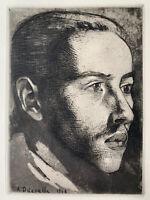 Angèle Delasalle gravure eau forte etching Portrait De Jeune Homme
