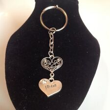 Mum and heart key ring silver plated