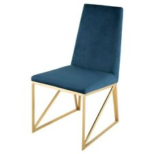 "17.8"" W Set of 2 Highback Dining Chair Blue Velour Gold Stainless Steel Modern"