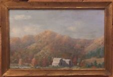 Mystery Artist- C. 1930's American Original Oil Painting- Pennsylvania Farm Barn