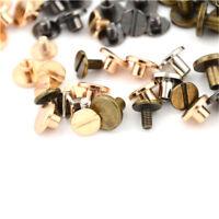 10setFlat Head Brass Solid Stud Screw Nail Rivet Leather Craft Wallet Belt DIY6O