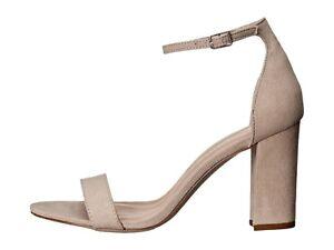 Madden Girl Beella Block High Heel Sandals Blush Fabric Ankle Strap Size 8
