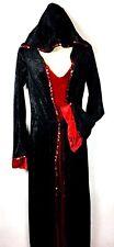 Womens Costume Sorceress Black & Red Hooded Dress Halloween Sz. S