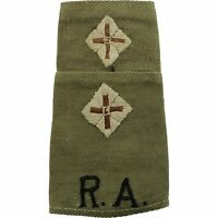 WW2 Royal Artillery Officers Slip-On Epaulette CLOTH Rank Pips Lieutenant - WX90