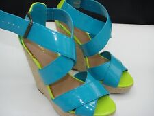 Xhilaration Size 7 Seahawks Patent Leather Green Blue Wide Strap Peep Toe Wedges
