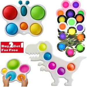 Pop Fidget Toy Push It Simple Dimple Bubble Sensory Stress Relief Key Chain Gift