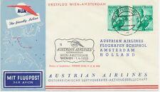 ÖSTERREICH AUA ERSTFLUG 1959 WIEN – AMSTERDAM (Stempel-Nr. 3) K1 WIEN/FLUGHAFEN