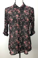 NEW Socialite Women's Top Button Down Blouse Long Sleeve Sheer Floral Print