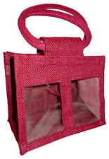 10 x 2 JAR JUTE BAGS in RED - Gift Bag for Jams, Chutneys, Pickles & Preserves
