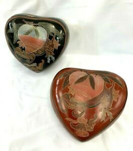 VINTAGE CHINESE HAND PAINTED HEART SHAPE LACQUER BOX