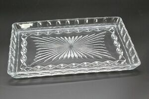 Rectangular shaped trinket/jewellery tray with a cut glass pattern