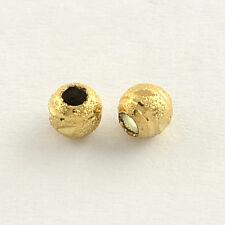 20 piezas pequeñas 4mm ronda granos Dorados Latón Stardust hallazgos Agujero Grande