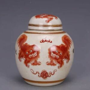 TWO  Chinoiserie vase red lion foo dog Chinese Ginger Jar