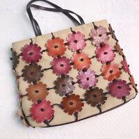 ROLFS Flower Purse Linen & Leather Women's Handbag Flower Overlay
