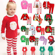 2Pcs Kids Boys Girl Christmas Pajamas Outfit Set Sleepwear Nightwear 1-7Y Cotton