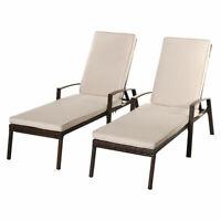2PCS Patio Rattan Lounge Chair Garden Furniture Adjustable Back W/ Cushion NEW