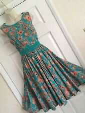 GLAMOROUS MONSOON SIZE 16/44 TEAL TANGERINE VINTAGE 50's FIT & FLARE PARTY DRESS