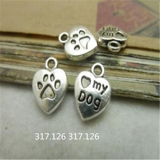 20X Tibet Silver Heart MY DOG Pendant Charm Craft Jewelry 10mm*13mm GU102