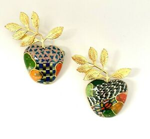 Cynthia Chuang Jewelry 10 Handcrafted Ceramic Pair of Gold Leaf Apples