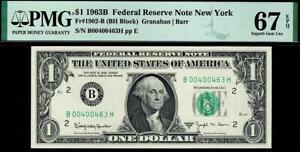 Superb Gem 1963b $1 New York BARR Federal Reserve Note FRN • PMG 67 EPQ 1902-B