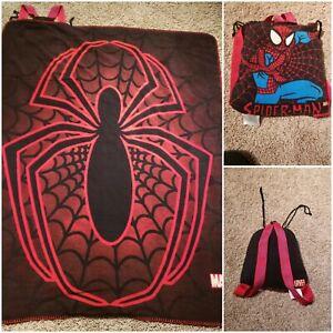 Marvel Spiderman Fleece Blanket Backpack Sack Pillow Sleepover Travel