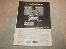 Sony 777 S-2, S-4 Open Reel 1962 Ad, 1 page, Article, MX-777 Mixer, RARE INFO