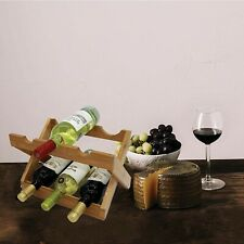 BAMBOO WOODEN WINE RACK 2 TIRE FOLD ABLE 6 BOTTLE HOLDER STAND