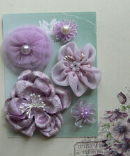 LAVENDER Fabric Mixed Designs 5 Flowers & Pearl Centres20-70mm across Green Tara