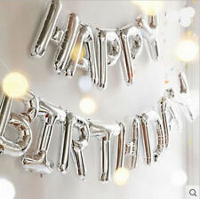 """SELF INFLATING 16"""" Inch Happy Birthday Silver Letters Foil Balloons Party balons"""