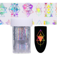 Holographicss Nail Foils Geometry Pattern Nail Art  Laser Transfer Sticker