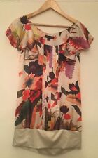 Ladies Womens Ted Baker Size 3 U.K. 12 Floral Blouse Top Multi Coloured Flowers