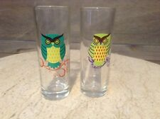 LOT OF 2 OWL Tall SHOT GLASS GREEN OWLS GLASS
