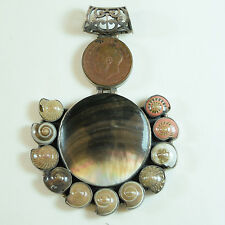 Shell, and Sovereign Coin Pendant Sterling Silver with Mother of Pearl,