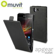 Original Muvit Sony Experia Z Schwarz Slim Flip SESLI 0035 Handy Hülle Cover
