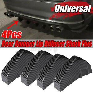 4 Fins Car Rear Bumper Diffuser Scratch Protector Molding Trim Carbon Fibe C*//