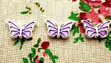 Butterfly charms 2 purple silver pendant charm jewellery supplies C651