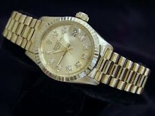 Rolex Date President Ladies Solid 18K Yellow Gold Watch Champagne Diamond Dial