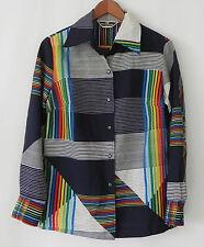 Vtg Alex Colman Shirt Multi-Color Button Down Size L
