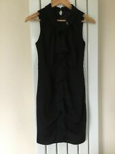 NEXT PETITE LADIES BLACK RUFFLE SHIFT DRESS SIZE 8 PETITE BNWT