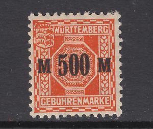 Germany, Wurttemberg, 1923 500M orange Excise Revenue, MLH, F-VF