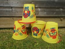 Vintage Yellow Plastic Clown Beach Bucket Retro 1960s Childs Party Bags