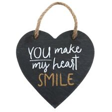 You Make My Heart Smile Sign Plaque Wall Valentines Gift Birthday Love Slate