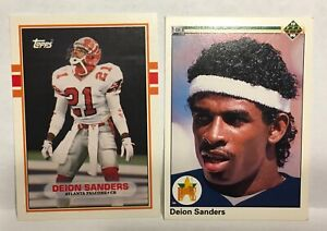 DEON SANDERS ROOKIE FOOTBALL & BASEBALL CARDS =  330T & #13