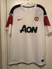 New L Nike Manchester United 2010-2011 Short Sleeve Jersey Away White Red Devils