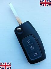 NEW 3 BUTTON REMOTE FLIP KEY FOB CASE & BLADE Fits FORD MONDEO FOCUS CMAX w/LOGO